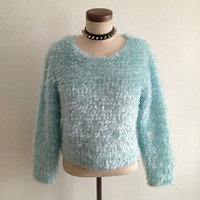 90s Club Kid Baby Blue Sweater S/M by RedCrowCorner on Etsy