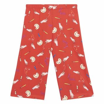 VIVETTA Kids Cannolo Signature Print Wide Leg Pants in Red