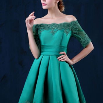 Green Off Shoulder Lace Hem Half Sleeve Lacing Back Prom Skater Dress