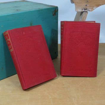 Antique Victor Hugo Notre Dame + The Laughing Man Books Small Pocket Size T Nelson & Sons