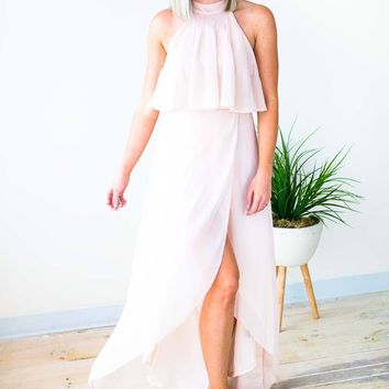 Callie High Low Blush Halter Neck Dress