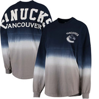 Vancouver Canucks Fanatics Branded Women's Ombre Spirit Jersey Long Sleeve Oversized T-Shirt - Blue/Gray