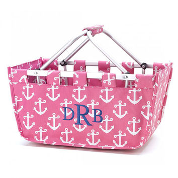 Market Tote Pink Anchor Nautical  - Monogrammed Personalized Bag Picnic Basket Boat