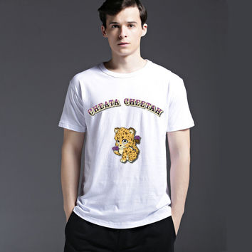 Slim Animal Tee Pattern Short Sleeve Cotton Men's Fashion Casual Lovely Summer Cute Round-neck T-shirts = 6451612483