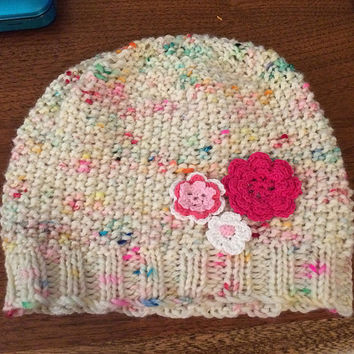 Flower Knit Hat, Toddler Beanie Hat with Pink Flowers