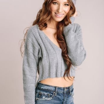 Rory Ribbed V-Neck Crop Sweater