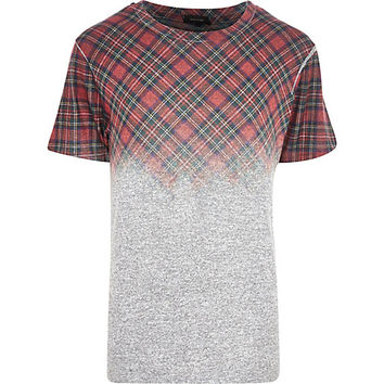 River Island MensGrey plaid fade t-shirt