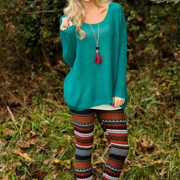 Falling Into Place Sweater-Peacock