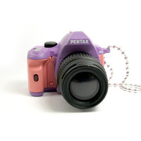 Kawaii Harajuku Fairy Kei Style Colours Purple and Pink Toy Pendant Professional DSLR Chunky Camera Miniature Long Necklace