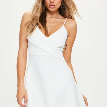 Missguided - White Strappy Wrap Scuba Skater Dress