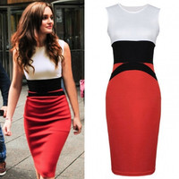 New Fashion Splicing Color Ladies Red Pencil Evening Slimming Panel Tea Dress