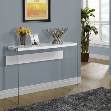 Glossy White Hollow-Core / Tempered Glass Sofa Table