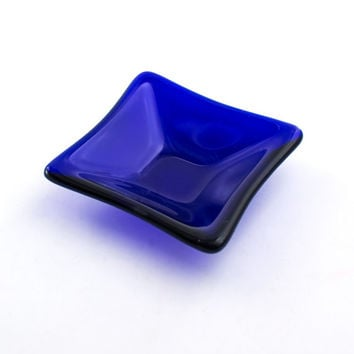Cobalt Blue Ring Dish, Fused Glass, Jewelry Holder, Small Glass Bowl, Catch All, Trinket Tray, Condiment Server, Small Gifts for Women