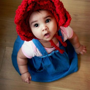 12 to 24m Red Rose Baby Flower Bonnet, Rose Hat, Baby Girl Hat, Flower Girl Hat, Alice in Wonderland Rose Baby Hat Photo Prop