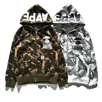 AAPE Unisex Zippers Camouflage Chain Jacket