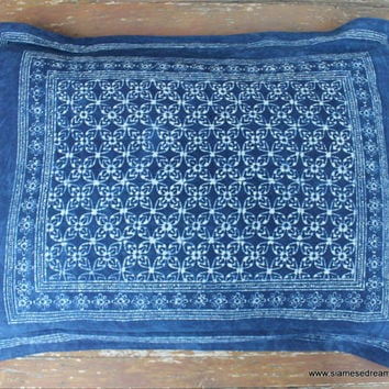 Bed Pillow Sham In Hmong Indigo Batik Natural Cotton Double Sided Standard Bed Pillow Cover