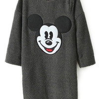 ROMWE | ROMWE Mickey Mouse Print Grey Dress, The Latest Street Fashion