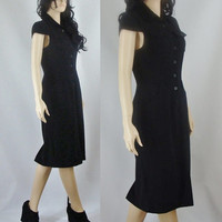 Vintage Wiggle Dress Black Seventies Wiggle Dress, Button Up Dress, Small Medium