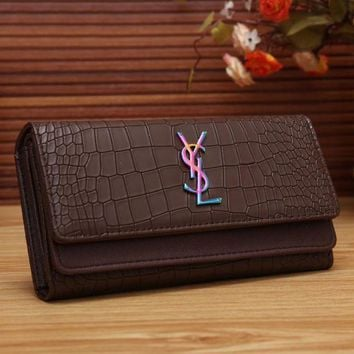 PEAPND YSL Women Fashion Multicolor Logo Shopping Leather Buckle Wallet Purse
