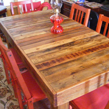 "Rustic Reclaimed Wood Dining Table or Desk 60"" x 30"" x 30"" high Use Indoors or Out"