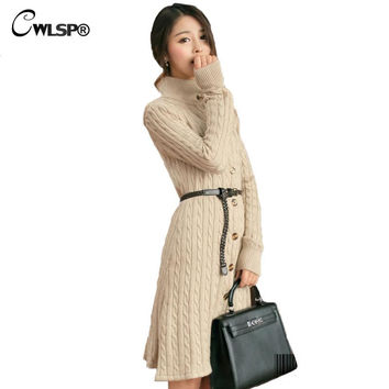 Female Sweater Cardigan  2016 New Winter Korean Version Slim Long Sweater Dress Turtleneck Knit Jacket Coat With Belt ZLY085