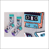 Women's Crew Sock with Retro Cassette Tape Design