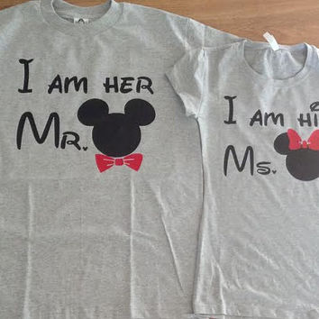 Free Shipping Disney I am her Mr./Ms. Mickey and Minnie Couples Shirts/Tank Tops