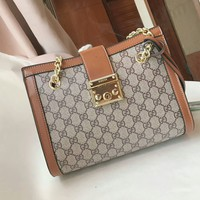 GUCCI New Fashion Women Shopping Bag Leather Metal Chain Tote Handbag Buckle Shoulder Bag Grey Brown I-AGG-CZDL
