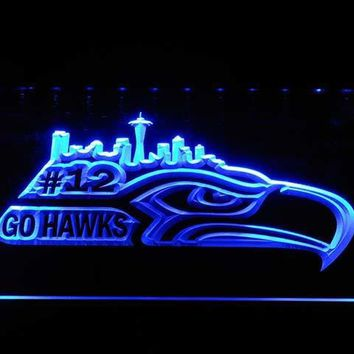 b1031 Seattle Seahawks Go Hawks 12 Man Bar LED Neon Sign with On/Off Switch 20+ Colors 5 Sizes to choose