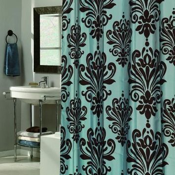 elegant Design BROWN & Blue  Fabric Shower curtain w/ Built in Flat Top Rings