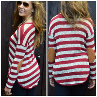 SZ MEDIUM Upper East Side Burgundy Striped Elbow Patch Top