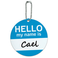 Cael Hello My Name Is Round ID Card Luggage Tag
