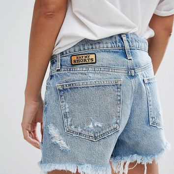 A-Gold-E Parker Patchwork Cut Off Shorts with Fraying at asos.com