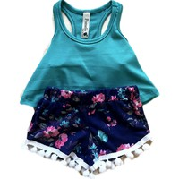Infant Pom Pom Floral Shorts, Navy