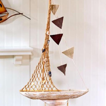Sailboat Wood Decorative Nautical Ocean Sail Sea Coastal Decor Over 2 Feet Tall