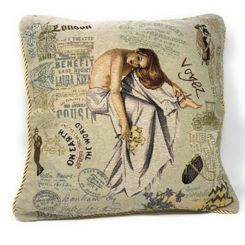 Tache 18 X 18 Inch Parisan Model Throw Pillow Cushion Cover (TA-CC-1362)