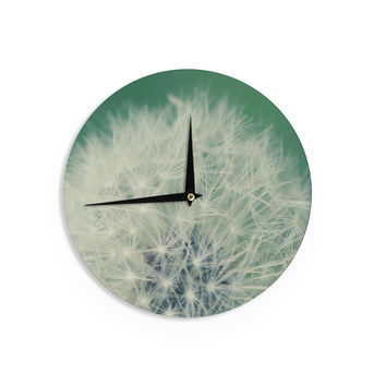 """Angie Turner """"Fuzzy Wishes"""" Green White Wall Clock"""