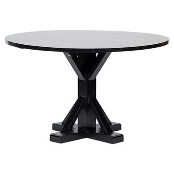 "Noir 48"" Criss-Cross Round Dining Table 
