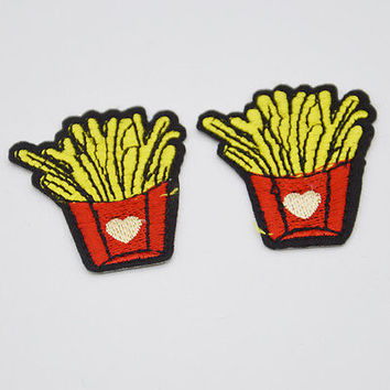 2pcs French fries Embroidery Iron on patch sewn applique Embroidered DIY Motif
