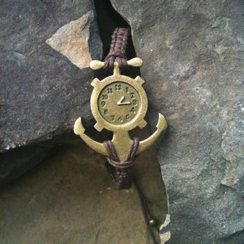Men's Chunky Nautical Jewelry Knotted Bronze Anchor  Bracelet  You Choose Color