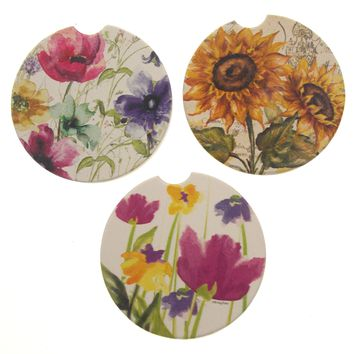 Flowers Stone Car Coasters Set 3 CounterArt Absorbent Heritage Sunflower Summer