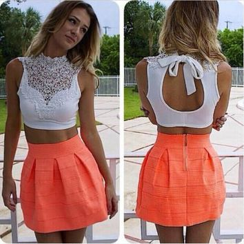 Summer White Lace Hollow Out Slim Sexy Crop Top Tops [6339069953]