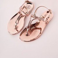 METALLIC ROPE JELLY SHOES ROSE GOLD