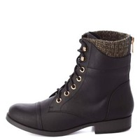 Sweater-Lined Lace-Up Combat Boots by Charlotte Russe - Black