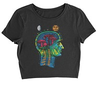 Psychedelic Cosmic Mushroom Head Cropped T-Shirt