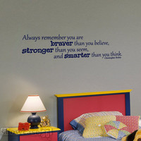 Always Remember Quote Christopher Robin - Vinyl Wall Art - FREE Shipping - Fun Winnie the Pooh Wall Decal