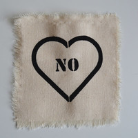 No Heart Punk Patch Feminist Patch Anti Valentine Hand Printed on Canvas