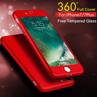 New Ultra Slim Case for Apple iPhone 6 6S 7 Plus iPhone7 Plus Full Protective Cover 360 Degrees Back Cover+ Free Glass Film