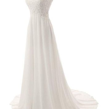 Bohemian Hippie Style Chiffon V-Neck Wedding Dress
