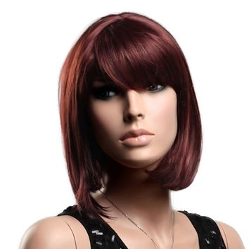 GOOACTION High-end American Popular Red Brown Oblique Bangs Bob Wigs For Women and Ladies Short Wigs Hair Wigs Lace Wigs Wigs Shop